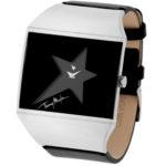 packshot montres - photos de montres acier cuir noir thierry mugler